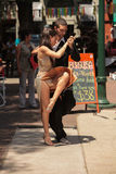Tango street. In a small square in the busy boulevard of San Telmo you can be appreciated by those skilled Sundays tango dancers Royalty Free Stock Image