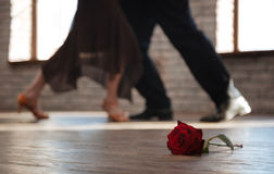 Tango supérieur astucieux de danse de couples de danse à la salle de bal Photo stock