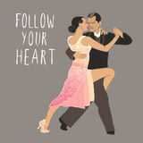 tango Tanzenpaare? getrennt auf Weiß Tanzende Tricks im Gelb Tanzklasse Lizenzfreie Stockbilder