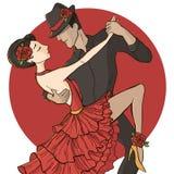 Tango. Vector illustration. A couple dancing the tango Stock Photos
