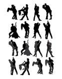 Tango y bailarín Silhouettes de los pares de la salsa Imagen de archivo libre de regalías