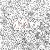 Tango Zen Tangle. Doodle background with flowers and text for the partner dancing. Stock Image
