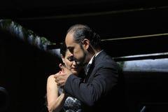 Tangodansare och musiker, Buenos Aires Argentina royaltyfri bild