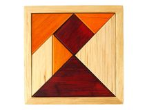 Tangram łamigłówka na bielu Fotografia Stock