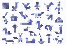 Tangram птиц животноводческих ферм иллюстрация вектора