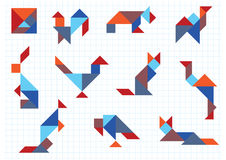 Tangram animals birds Stock Image