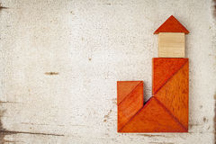 Tangram building with a tower Stock Image