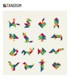 Tangram children brain game cutting transformation puzzle vector set. Puzzle game transformation pet and rocket illustration Royalty Free Stock Photo