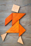 Tangram dancing figure Royalty Free Stock Photos