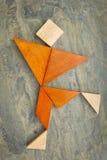 Tangram dansend of lopend cijfer Stock Afbeeldingen