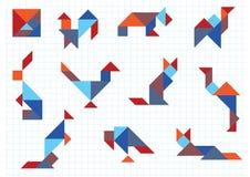 Tangram dierenvogels Stock Afbeelding