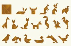 Tangram, fauna - cdr format. Shapes of animals and birds made from tangram, an old chinese game vector illustration