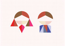 Tangram figures boy and girl Royalty Free Stock Photography