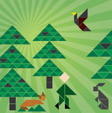 Tangram forrest. Forrest image made from tangram puzzle Royalty Free Stock Photography