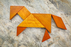 Tangram horse abstract Stock Photo