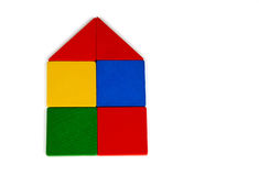 Tangram House Icon. Colorful Tangram House icon made square and triangle wood pieces of tangram Stock Images
