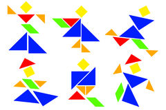 Tangram Man - Various Composit. There are some tangram man. Various composition Stock Photos