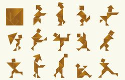 Tangram, people - cdr format. Shapes of people made from tangram, an old chinese game stock illustration