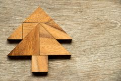 Tangram puzzle in christmas tree shape royalty free stock images