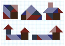 Tangram puzzle house. On a white background Stock Image