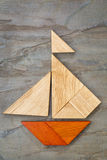 Tangram sailboat abstract Royalty Free Stock Images