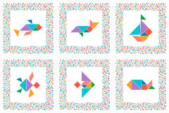 Tangram set, sea animals, fishes, sailboat Stock Photos