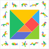 Tangram set, wild animals, birds, amphibians and fish. Collection of printable tangram solution cards. Traditional Chinese puzzle, learning game for kids Royalty Free Stock Photography