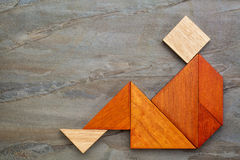 Tangram sitting figure Stock Image