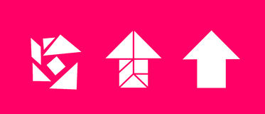 Tangram - solving the problem. Tangram game: Seven chaotic shapes create arrow after arrangement. Metaphor of solving difficult problem and going ahead vector illustration