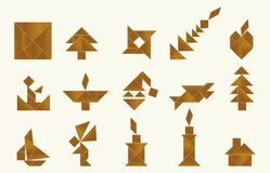 Tangram, various - cdr format. Shapes of various objects made from tangram, an old chinese game royalty free illustration