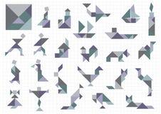 Tangram voorwerpen Stock Foto