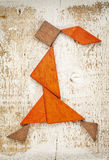 Tangram walking girl figure Stock Images