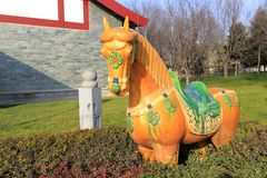 Tri colored glazed pottery horse, adobe rgb Stock Photography