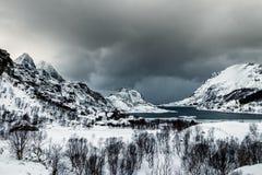 Tangstadfjord sur les îles de Lofoten photo stock