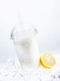 Tangy lemon boba tea stock image