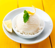 Tangy lemon sorbet served with zest Royalty Free Stock Images