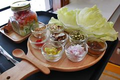 Tangy and spicy thai version of Paan. Fragrant lemon grass clubbed with veggies and condiments Stock Images