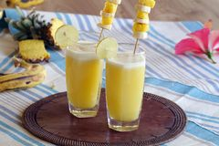 Perky pineapple a super delicious summer drink. A tangy, tasty and extremely refreshing drink which is packed with full of nutrients and it is one of the great Stock Photography
