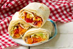 TANGY VEGGIE WRAP.selective focus Royalty Free Stock Photography