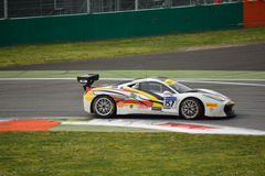 Tani Hanna Ferrari 458 Challenge Evo at Monza. Tani Hanna drives his Ferrari 458 Challenge Evo during the first race of Shell Cup 2016 for Motor Service team Royalty Free Stock Images