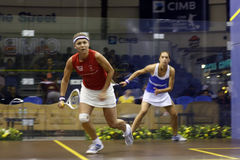 Tania Bailey vs Shelley Kitchen. Malaysia Open Squash 2008 quarter final match featuring Shelley Kitchen and Tania Bailey Royalty Free Stock Photography