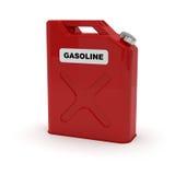 Tanica rossa con l'etichetta della benzina Fotografia Stock Libera da Diritti