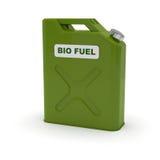 Tanica verde con l'etichetta del combustibile biologico Fotografie Stock Libere da Diritti