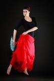 taniec Hiszpańska dziewczyna z fan dancingowym flamenco Obraz Stock