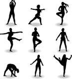 Taniec kobiet sylwetki wektor Obrazy Royalty Free