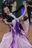 Taniec para Wykonuje Juvenile-1 Standardowego Europejskiego program na Krajowym mistrzostwie Zdjęcie Stock
