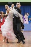 Taniec para Wykonuje Juvenile-1 Standardowego Europejskiego program na Krajowym mistrzostwie Fotografia Royalty Free