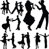 Taniec sylwetki ludzie Obrazy Royalty Free