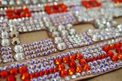 Taniec towarzyski turniejowa biżuteria robić błyszczący kryształy Obrazy Royalty Free