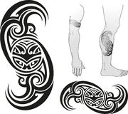 Taniwha swirl. Traditional Maori tattoo design with Taniwha face in a swirl. Good for arms and legs. Editable vector illustration Stock Photography